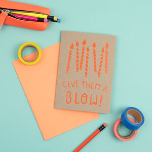 Neon Birthday Candles Card - birthday cards