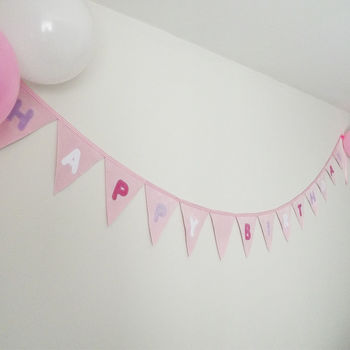 Happy Birthday Bunting Banner Candy Pinks