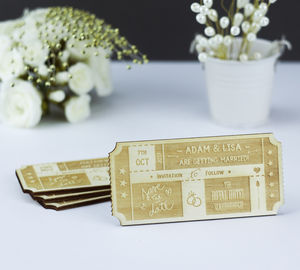 Personalised Wooden Ticket Save The Date - save the date cards