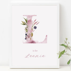 Personalised Ethereal Woodland Initial Nursery Print - posters & prints