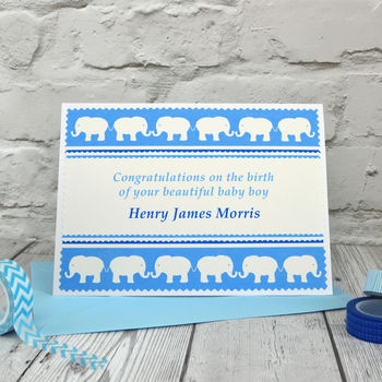 'Elephants' Baby Boy Personalised New Baby Card