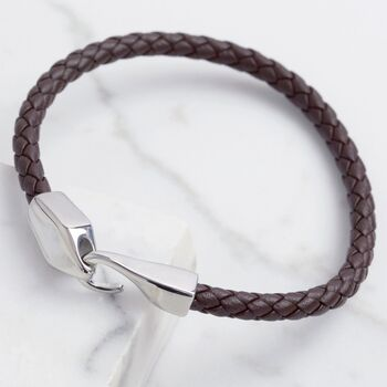 Men's Brown Woven Leather Hook Clasp Bracelet