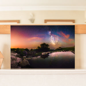 Milky Way Galaxy Reflecting On Water Canvas Print - photography & portraits