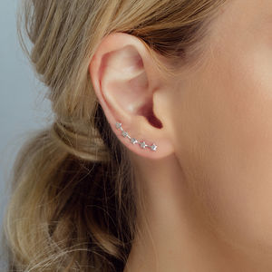 Silver Five Little Stars Ear Climbers - earrings