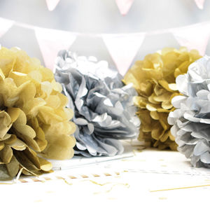 Metallic Gold And Silver Pom Poms - summer sale