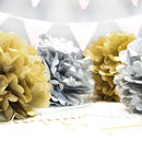 Metallic Gold And Silver Pom Poms