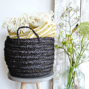 Black Woven Basket With Handles
