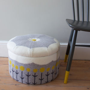Lambswool Storage Stool - living room