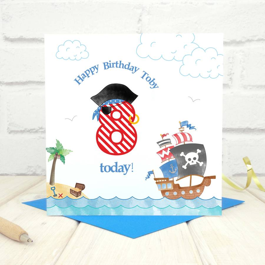 personalised pirate birthday age card by chi chi moi – Pirate Birthday Card