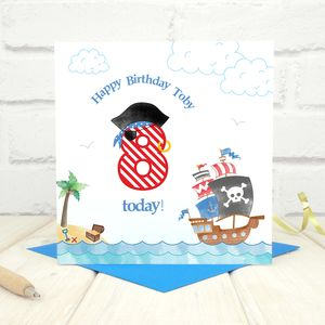 Personalised Pirate Birthday Age Card - birthday cards
