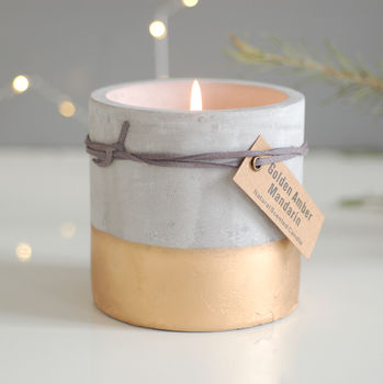 Concrete And Gold Dipped Candle