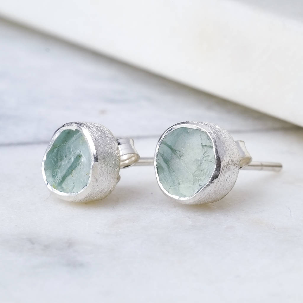 Aquamarineanic Silver Stud March Birthstone  Earrings