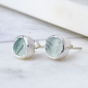 Rough Aquamarine Silver Stud March Birthstone - earrings