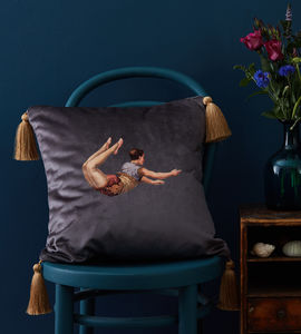 Trapeze Boy Velvet Cushion - cushions