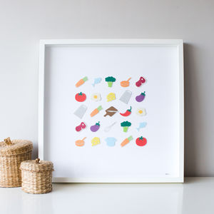 Framed Kitchen Food And Utensils 3D Art