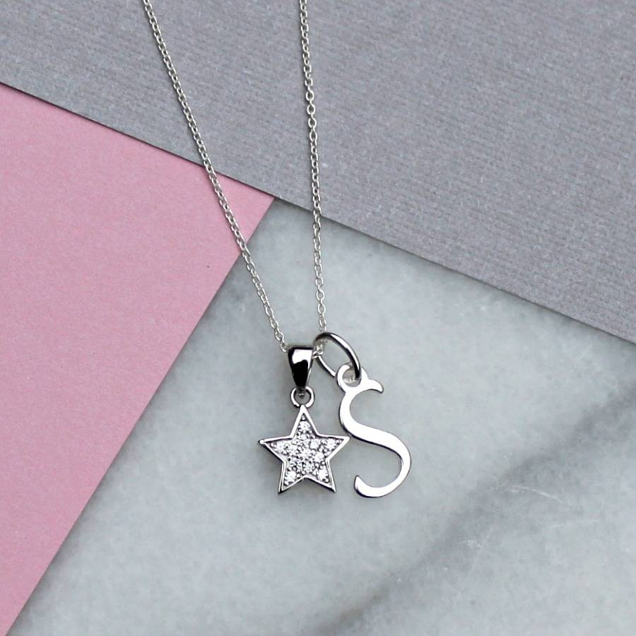 Personalised Pave Star And Initial Necklace