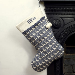 Grey Personalised Christmas Stocking With Knitted Cuff - personalised