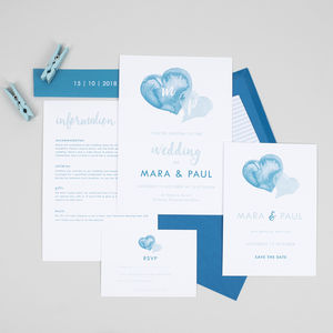 Blue Watercolour Hearts Wedding Stationery Set - save the date cards