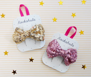 Sequin Bow Barrette Clip