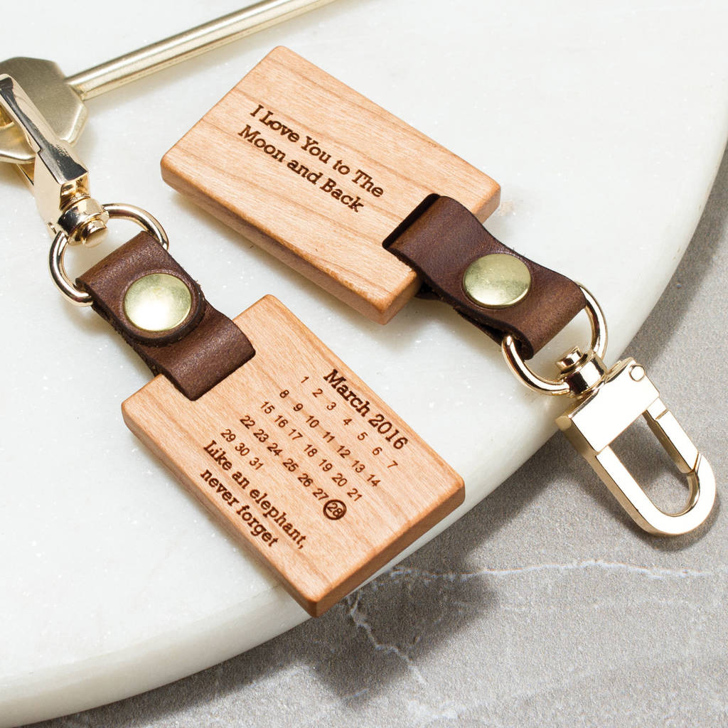 Personalised Wood Photo Key Ring