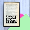 Jane Eyre Vintage Book Wedding Gift
