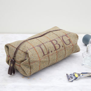 Personalised Tweed Initial Wash Bag