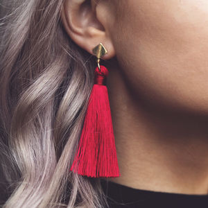 Carla. Silk Tassel Statement Drop Earrings Red