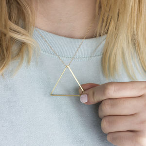 Large Brushed Brass Triangle Necklace - necklaces & pendants
