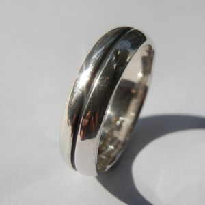 Silver Oxidized Mens Ring