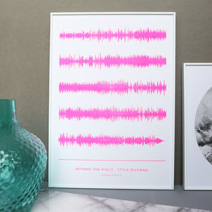 Stencil Printed Favourite Song Soundwave Print