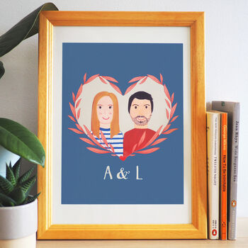 Personalised Hand Painted Couple Portrait Print