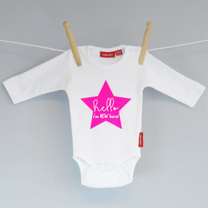 'Hello I'm New Here!' Babygrow - clothing