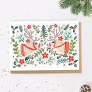 Reindeer Scandinavian Folk Christmas Card