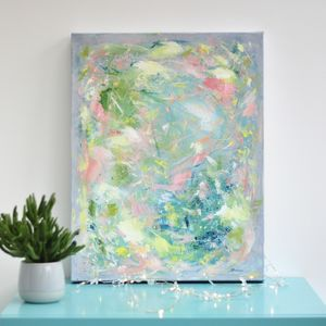 Colourful Soft Pastel Acrylic Painting Wall Art Canvas