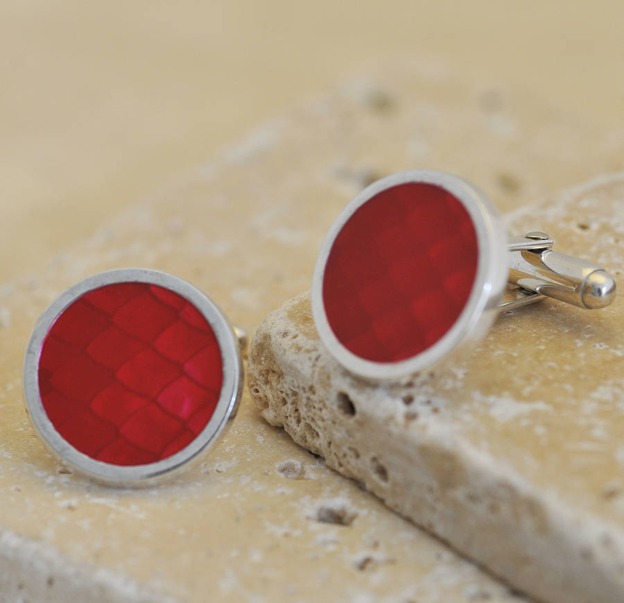 Red Enamel Silver Cufflinks