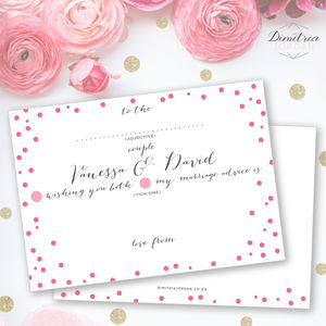 50 Personalised Wedding Advice Cards Polka Dot Design - guest books
