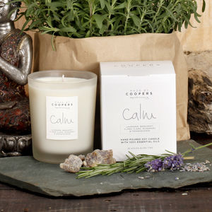Lavender, Bergamot, Ylang Ylang Calm Soy Candle - candles & home fragrance