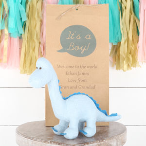 Blue Diplodocus Dinosaur Rattle + Personalised Gift Bag - soft toys & dolls