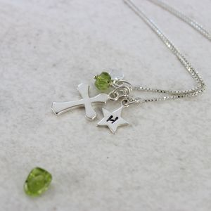 Personalised Silver Cross With Birthstones - children's accessories