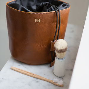 Leather Wash Bag Drawstring - gifts for him