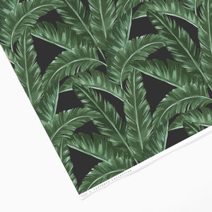 Black Tropical Banana Leaf Wrapping Paper