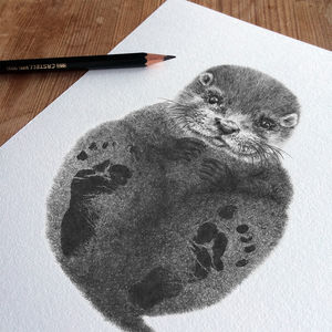 Bespoke Personalised New Baby Footprint Otter