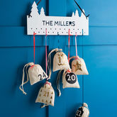 Set Of Modern Christmas Advent Calendar Cotton Bags - christmas decorations