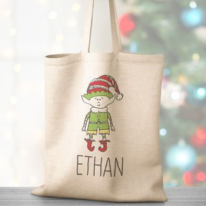 Personalised Christmas Elf Cotton Bag - cards & wrap