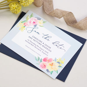 Caroline Floral Wedding Save The Date Card