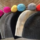 Contrast Pompom Hat In 100% Cashmere