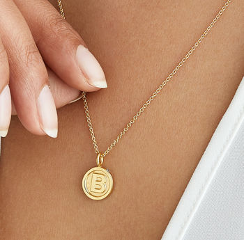 Gold / Silver Initial Letter And Gemstone Disc Necklace