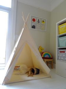 Natural Cotton Canvas Teepee - toys & games