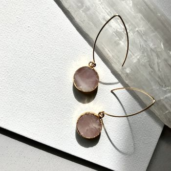 Mini Circle Rose Quartz Dropper Earrings