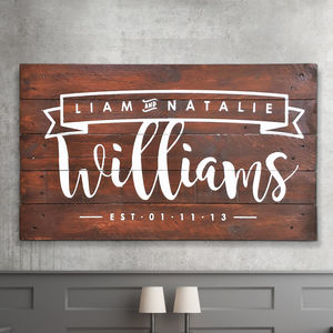 Personalised Couple Name And Date Wooden Sign Artwork - typography